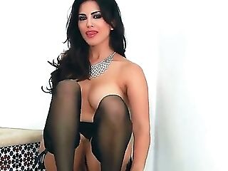 Gorgeous Brown-haired Sunny Leone Likes Posing While Gently Frigging Her Moist Vag