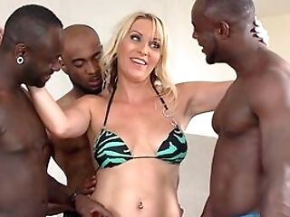 Blonde Whore Ball-gagged By Three Black Thugs Then Butt-banged