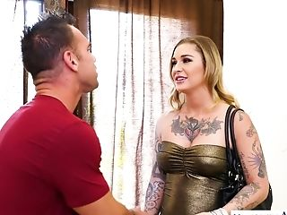 Blonde Mummy With Lots Of Tattoos Kleio Valentien Rails Stiff Dick On Top