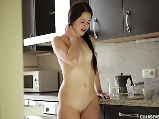 Uber-cute Sweetie Strips And Unveils Her Hot Assets In The Kitchen