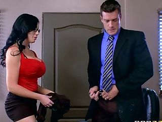 Office Whore With Amazing Faux Tits Fucks The Fresh Boy