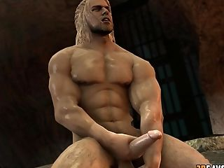 Hot Muscular Warrrior Jerking Off His Dick While Soldier From Overwatch Does It The Same