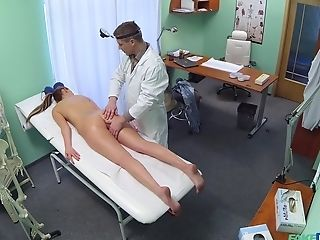 Dark-haired Chick Jenny Simons Gets A Utter Figure Examination With Cum Shot