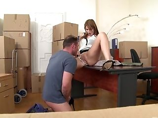 Hanna Montada Is Having Orgy With Her Colleague In The Warehouse