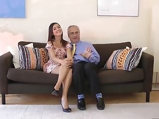 Horny Nubile Dancer Is Fucking An Elderly Man While His Wifey Is In Her Office