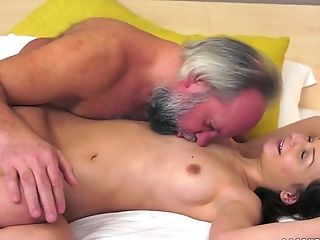 Hairless Teenage Anina Silk Has Oral Hookup With An Old Man