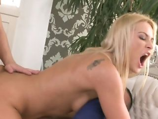 Two Guys Are Fucking A Hot Blonde That Has Natural Tits