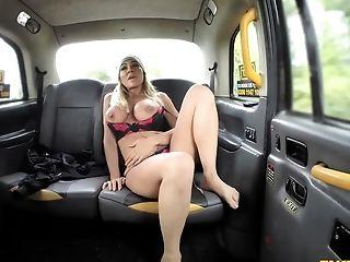 Huge-chested Cougar Aubrey Black Spins Around A Big Boner In The Cab