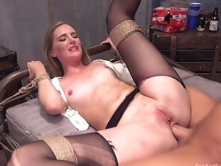 Stunning Mona Wales Is Tied On The Couch Waiting For Hard Fuck With A Dude